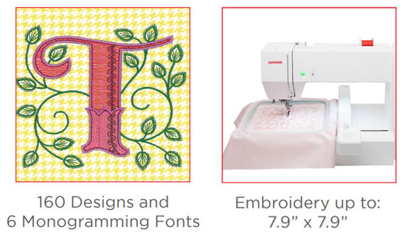 160 Designs & 6 Monogramming Fonts - Embroidery up to: 7.9in X 7.9in