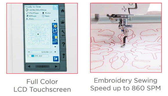 Full color LCD Touchscreen - Embroidery sewing speed up to 860 SPM