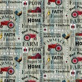 Farmall Hometown Life Words Fabric - Blue