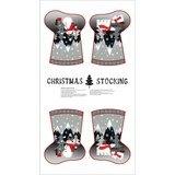 Paintbrush Studio, Red+Grey Christmas Stockings Fabric Panel