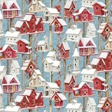 Sheltering Snowman, Winter Birdhouses Fabric