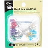 Heart Pearlized Pins - 35pk