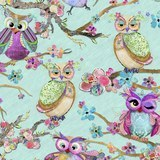 Boho Owls, Digitally Printed Owl Fabric