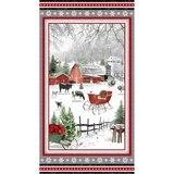 Holiday Homestead, Farm Scene Fabric Panel - 24in