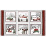 Holiday Homestead, Block Fabric Panel - 24in