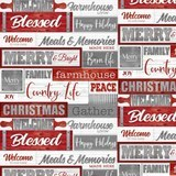 Holiday Homestead, Christmas Words Fabric - Red/Gray