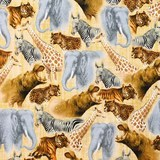 Out of Africa, Safari Animal Collage Fabric, Quilting Treasures