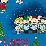 Peace, Love, Joy, Charlie Brown Peanuts Christmas Fabric