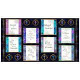 Faith, Religious Picture Patches Fabric Panel - Navy