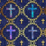 Faith, Crosses Fabric - Navy