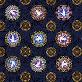 Faith, Medallion Toss Fabric - Navy
