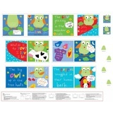 Whooo Loves You Fabric Book Panel - 36in Wide