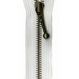 Antique Brass Zipper, YKK #37, White, 4in