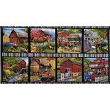 Country Paradise, Country Living Blocks Fabric Panel