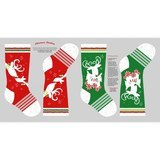 Studio E, Peppermint Reindeer Stocking Fabric Panel
