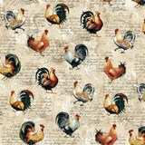 Studio E, Farmer's Market, Rooster Toss Fabric - Cream