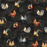 Studio E, Farmer's Market, Rooster Toss Fabric - Black
