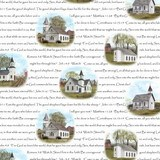 Amazing Grace, Rustic Churches w/Scriptures Fabric