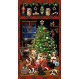 Fireside Pups Banner Fabric Panel - 24in