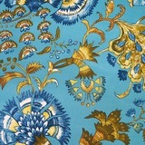 Williamsburg, Grand Palampore, Peacock Upholstery Fabric 55""