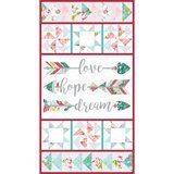 Roses & Arrows, Love, Hope, Dream Fabric Panel