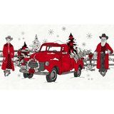 Western Greetings, Mr. & Mrs. Claus Fabric Panel