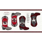Western Greetings, Cowboy Boot Stocking Fabric Panel