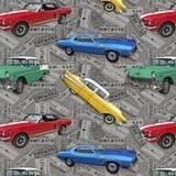 Coast to Coast, Vintage Cars Fabric