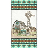 Home on the Range, Western Quilt Barn Fabric Panel