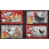 Chicken Scratch, Chicken Placemat Fabric Panel