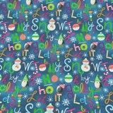 By Golly, Let's Be Jolly Words Fabric - Blue
