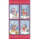 Nordic Forest Christmas Fabric Panel