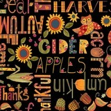 Give Thanks II Autumn Words Fabric - Black