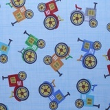 Oink, Moo, Cock, A Doodle Doo! Tractor Fabric - Blue