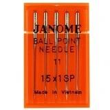 Ball Point Needles 15x1 (5pk), Janome #99021