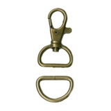 3/4in Swivel Hook and D-Ring Hardware Set - Antique Brass