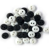 1/4in Tiny Round Buttons - Black & White