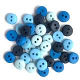 1/4in Tiny Round Buttons - Blues