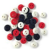 1/4in Tiny Round Buttons - Red, White, Blue