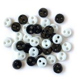1/8in Micro Round Buttons - Black & White