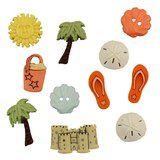Beach Bum Buttons - 11pk