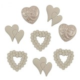 Assorted Wedding Hearts Buttons - White