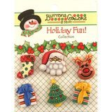Buttons Galore, Holiday Fun Buttons 6pk - Here Comes Santa