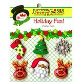 Buttons Galore, Holiday Fun Buttons 6pk - Reindeer Games