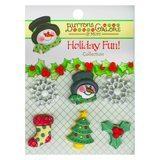 Buttons Galore, Holiday Fun Buttons 6pk - Winter Wonderland