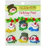 Buttons Galore, Holiday Fun Buttons 6pk - Snowman Medley