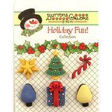 Buttons Galore, Holiday Fun Buttons 6pk - Good Tidings
