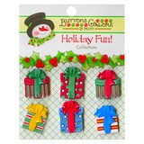 Buttons Galore, Holiday Fun Buttons 6pk - Christmas Presents