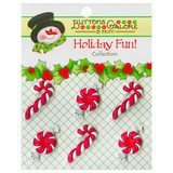 Buttons Galore, Holiday Fun Buttons 6pk - Peppermint Twist