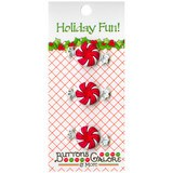 Buttons Galore, Holiday Fun Buttons 3pk - Peppermint